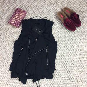ZARA black moto vest *flaw*